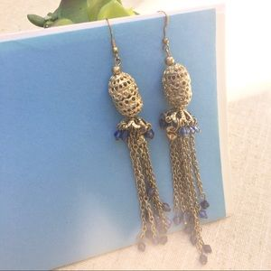 Urban Outfitters gold blue chandelier earrings